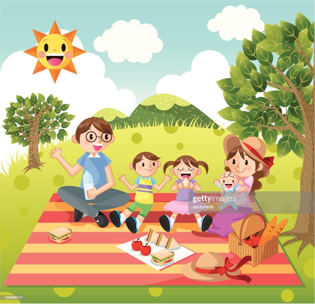 Family picnic : Vector Art