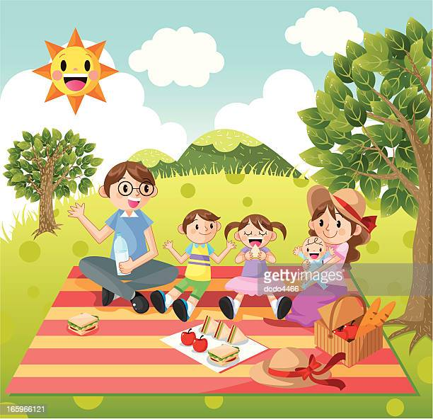 family picnic - picnic stock illustrations