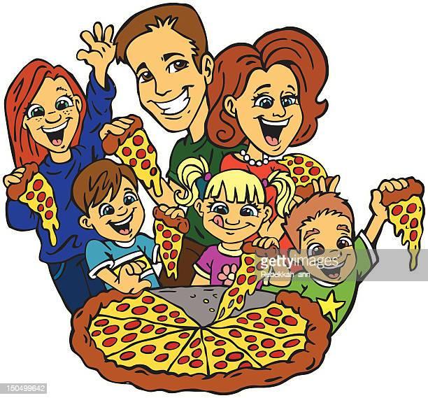 ilustraciones, imágenes clip art, dibujos animados e iconos de stock de familia pizza la noche. - pizza