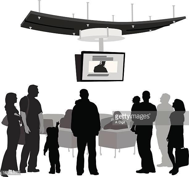 ilustraciones, imágenes clip art, dibujos animados e iconos de stock de familyplaces - familia viendo tv