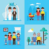 Family planning concept, marriage, young parents, kids and seniors