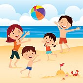 Family playing ball at the beach