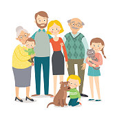 Family portrait. Big happy multi-generational family together. Cartoon vector hand drawn eps 10 illustration isolated on white background in a flat style.