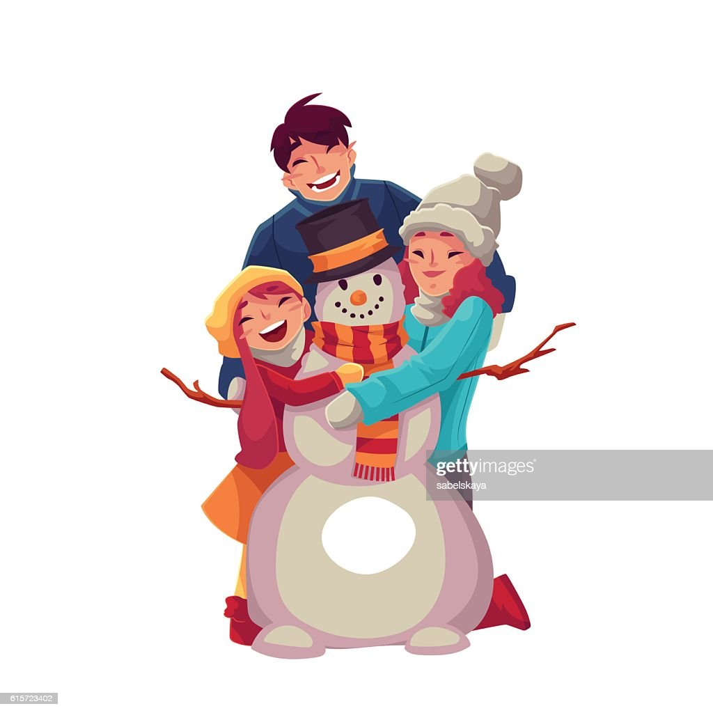 Family portrait of father, mother and daughter making a snowman