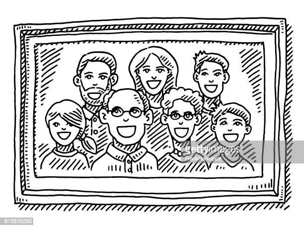 Family Portrait Picture Frame Drawing