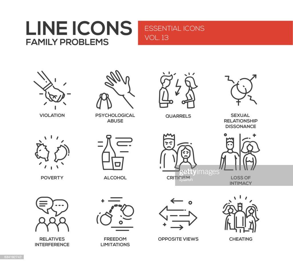 Family problems- line design icons set