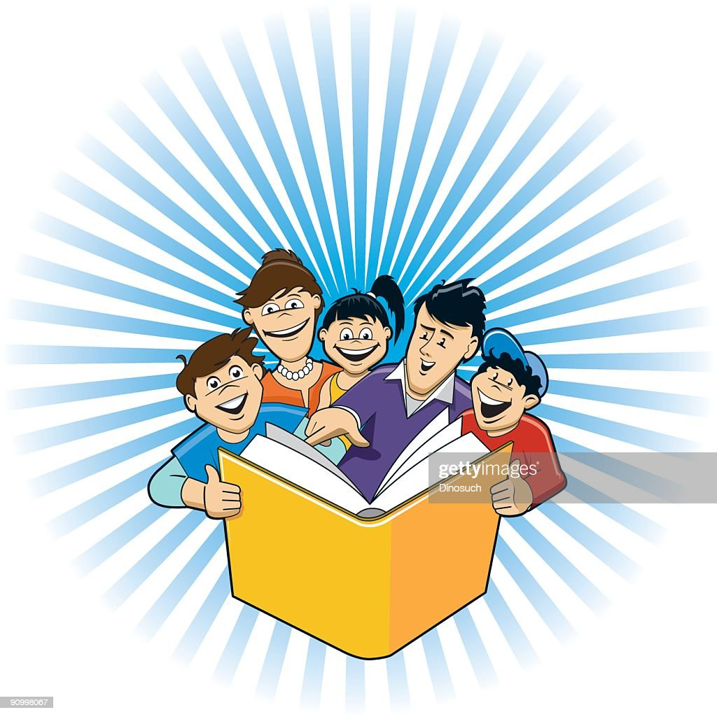 Family Reading A Book Together Vector Art