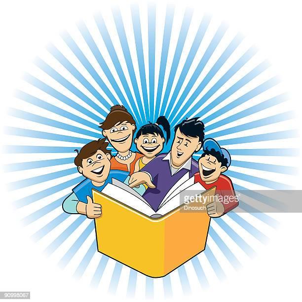 ilustrações, clipart, desenhos animados e ícones de família, lendo um livro juntos - bíblia