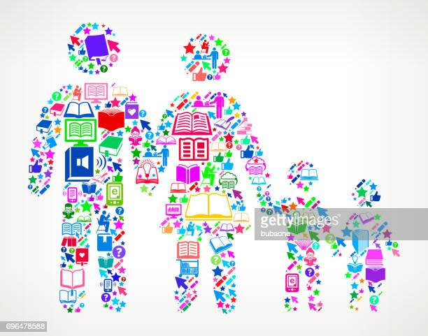 Family  Reading Books and Education Vector Icon Background