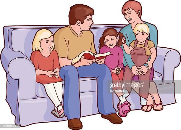 ilustraciones, imágenes clip art, dibujos animados e iconos de stock de familia de lectura - personas leyendo la biblia