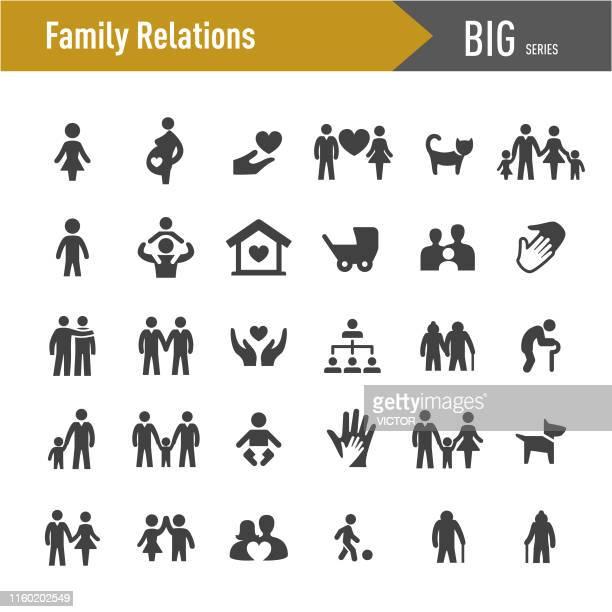 ilustraciones, imágenes clip art, dibujos animados e iconos de stock de iconos de relaciones familiares - big series - familia