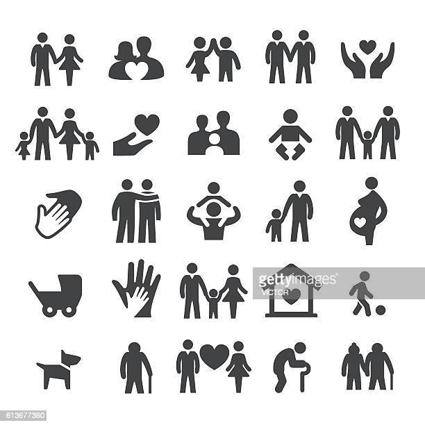 ilustraciones, imágenes clip art, dibujos animados e iconos de stock de family relations icons - smart series - familia
