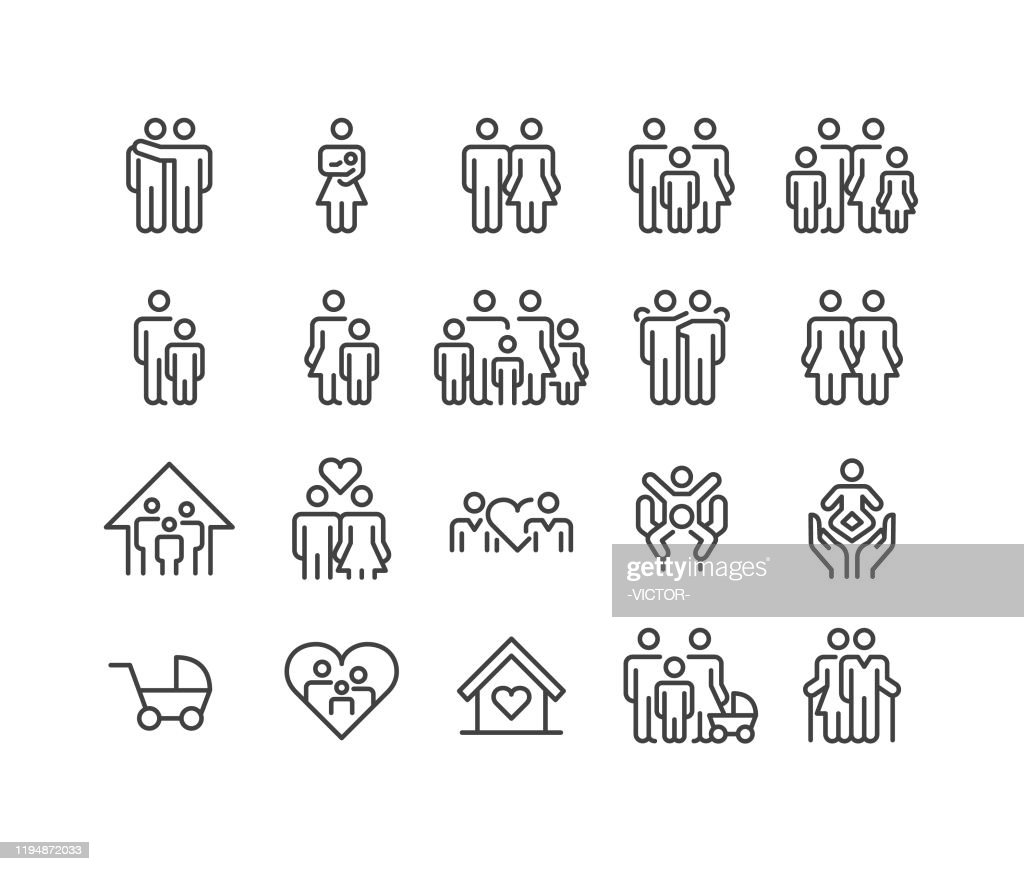 Family Relationship Icons - Classic Line Series : Stock Illustration