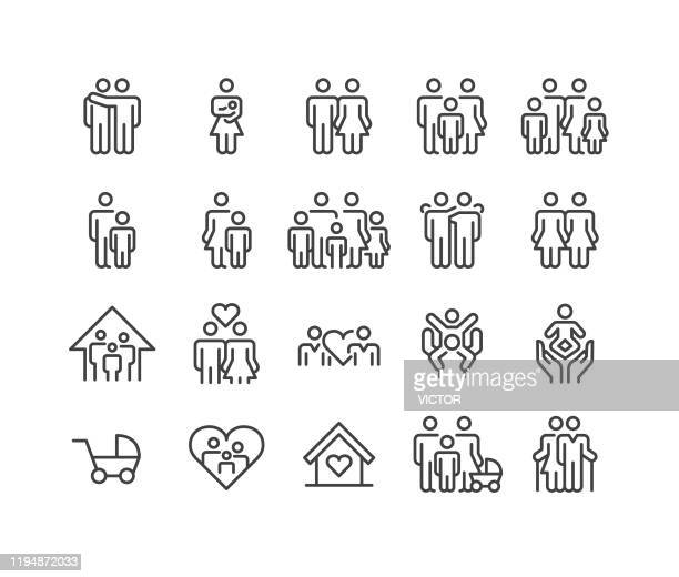 family relationship icons - classic line series - people stock illustrations