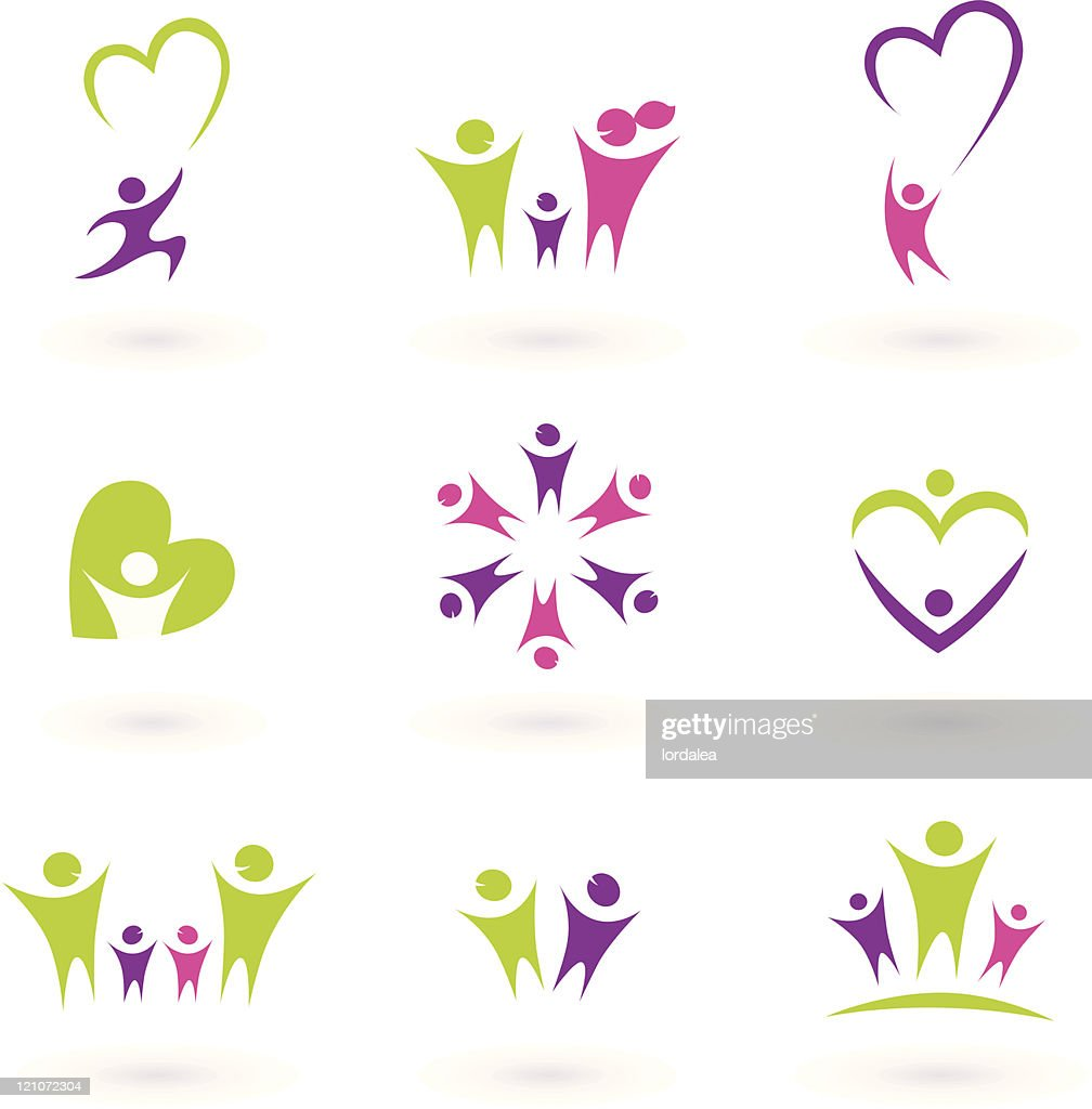 Family, relationship, people icon collection - green, pink, purple