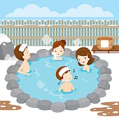 Family Relaxing In Hot Spring