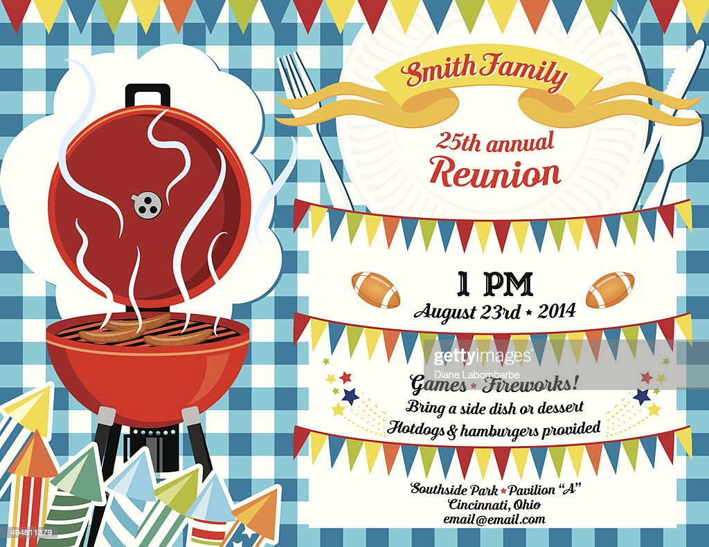 family reunion bbq invitation template vector art getty images