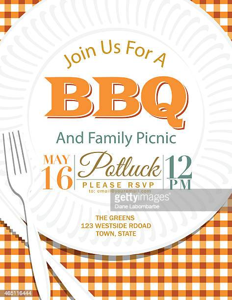 family reunion bbq paper plate invitation template orange - party social event stock illustrations, clip art, cartoons, & icons