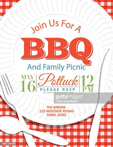 family reunion bbq paper plate invitation template red - picnic stock illustrations