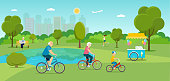 Family riding a bicycle. Ice cream cart. Vector flat illustration