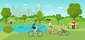 Family riding a bicycle  in the park. Vector flat illustration