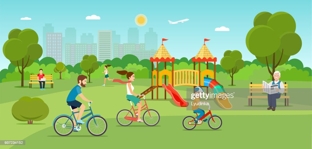 Family riding a bicycle Running girl in the park. Playground. Vector flat illustration