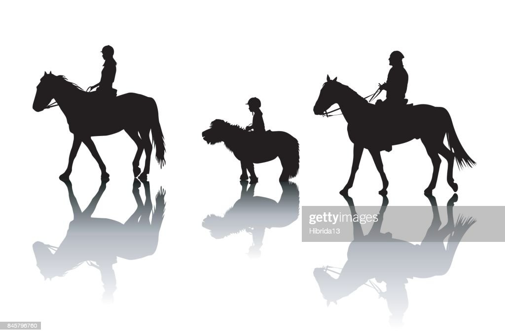 Family riding horses and pony