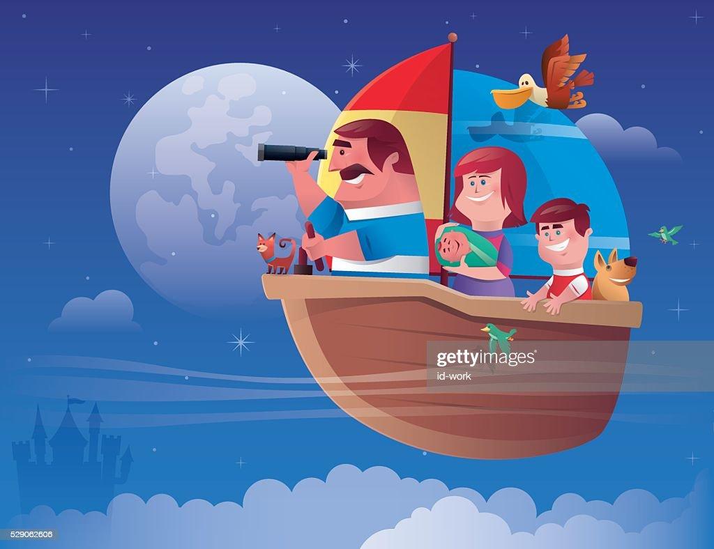 family sailing : stock illustration
