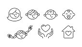 Family set of vector icons outline style