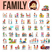 Family Set Vector. Lifestyle Situations. Spending Time Together At Home, Outdoor. Isolated Cartoon Illustration