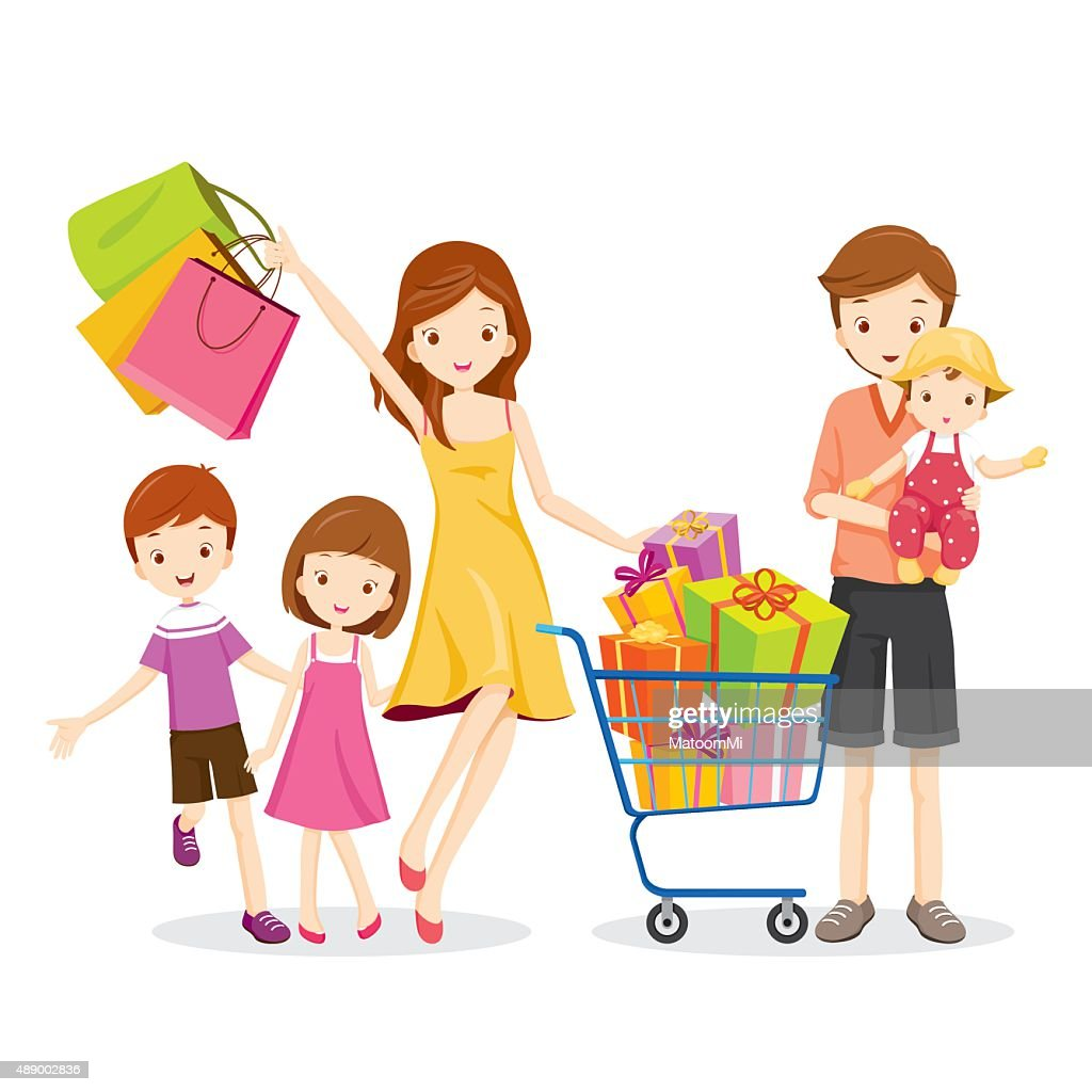Family Shopping and Gift Box in Shopping Cart
