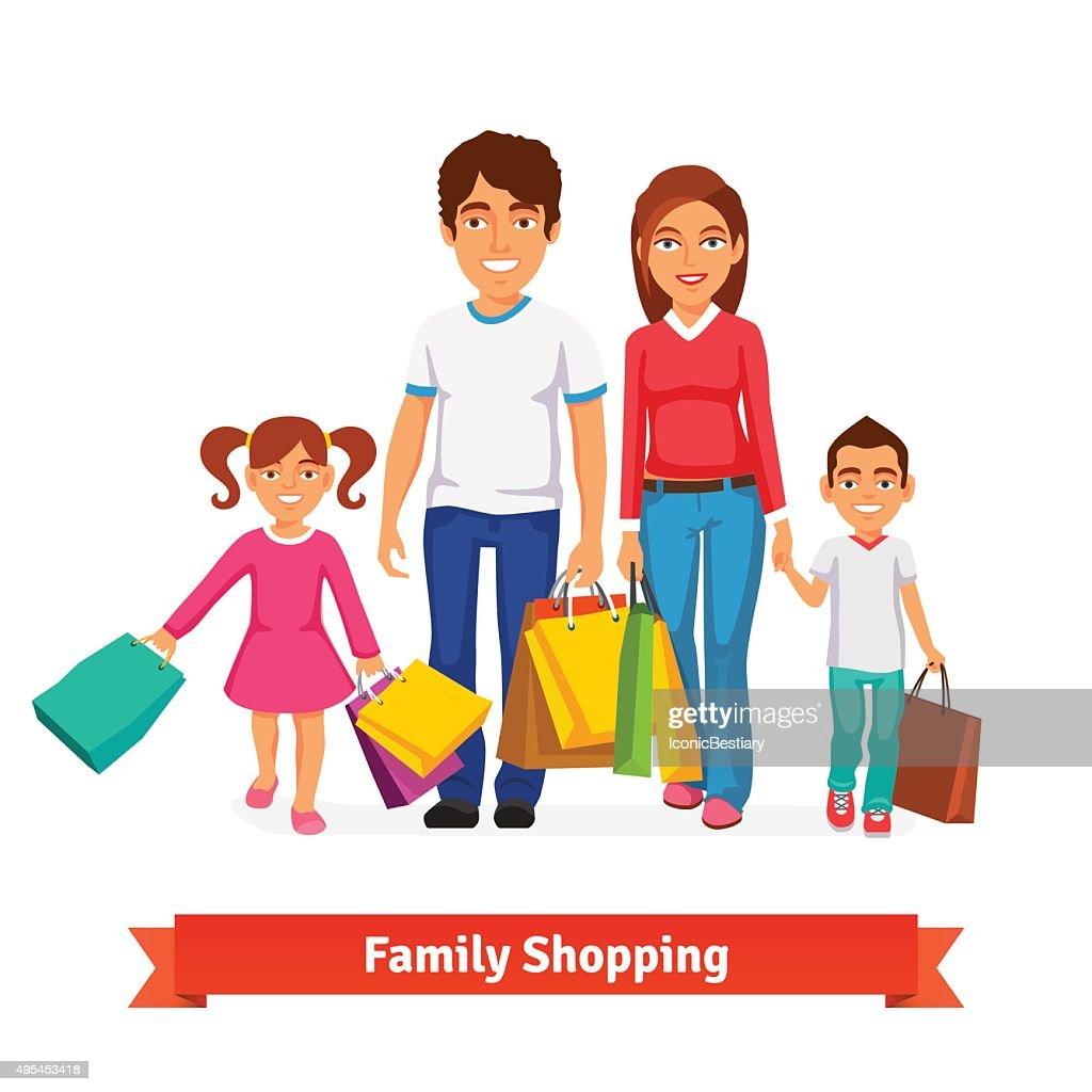 Family shopping Flat style vector illustration