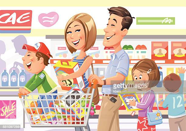 family shopping in supermarket - mid adult women stock illustrations