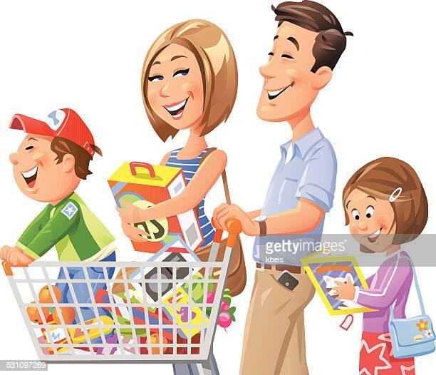 illustrazioni stock, clip art, cartoni animati e icone di tendenza di famiglia shopping - allegro