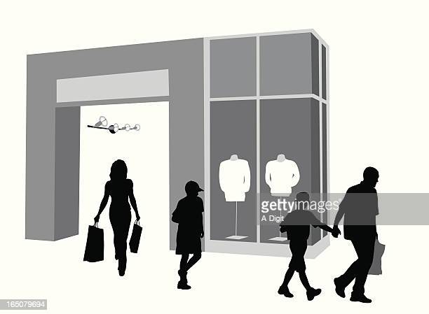 family shopping vector silhouette - retail display stock illustrations