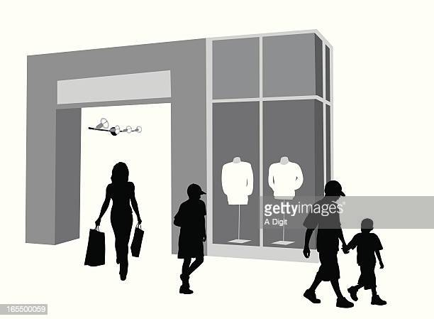Family Shopping Vector Silhouette