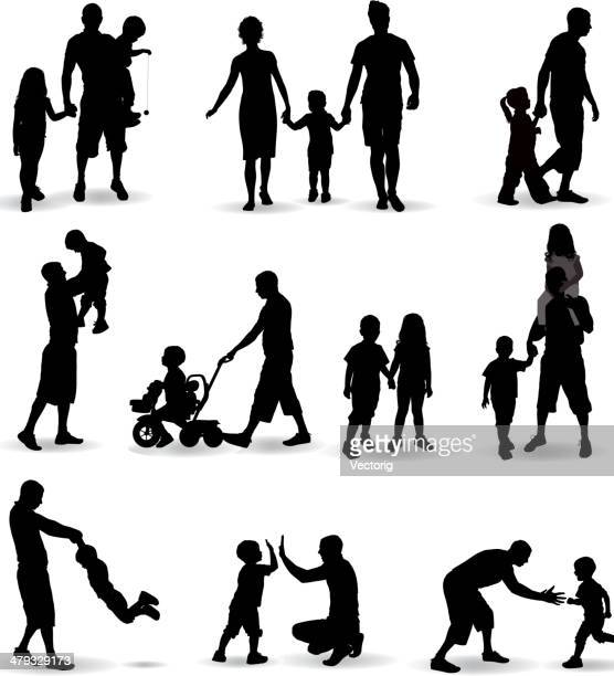 family silhouette - parent stock illustrations