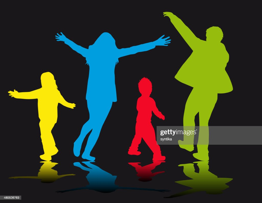 Family Silhouettes - Illustration : Vectorkunst