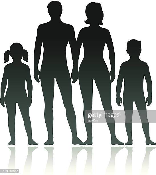 stockillustraties, clipart, cartoons en iconen met family silhouettes: mother, father son and daughter - bloot