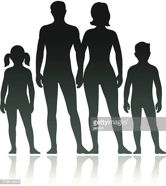 ilustraciones, imágenes clip art, dibujos animados e iconos de stock de familia siluetas: hijo y madre, padre e hija - mujer desnuda