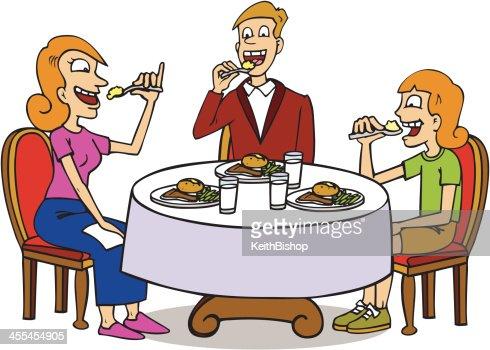 Famille Assis à Table De Salle à Manger Clipart vectoriel ...