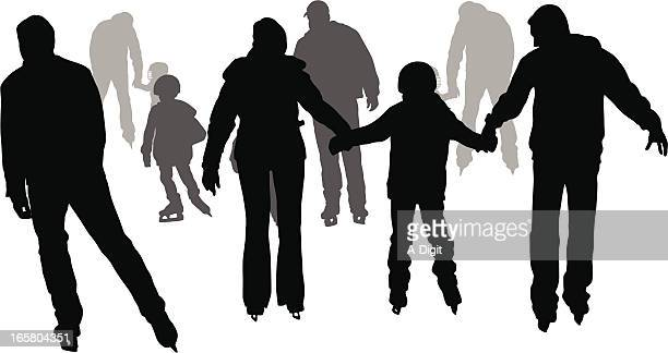 family skating vector silhouette - ice skating stock illustrations, clip art, cartoons, & icons