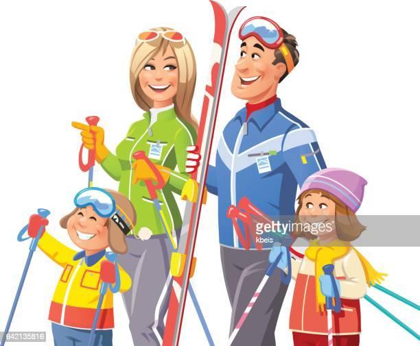 family skiing - ski goggles stock illustrations, clip art, cartoons, & icons