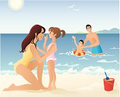 Family Spending Time Playing on Beach and in Water