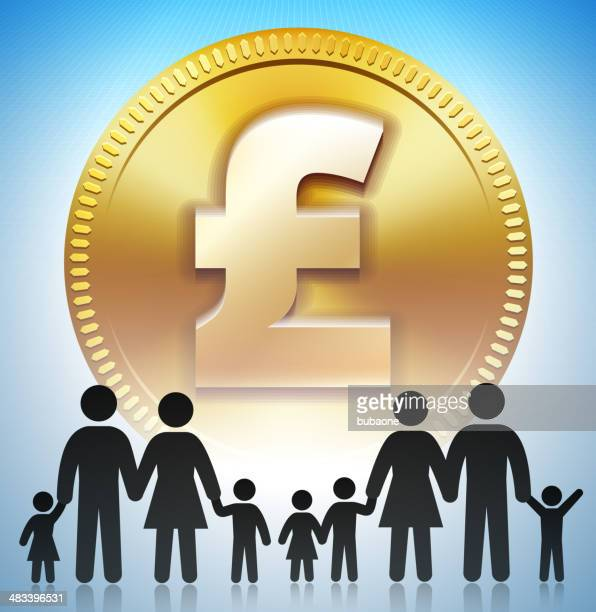 family stick figure on gold pound coin - millionnaire stock illustrations, clip art, cartoons, & icons