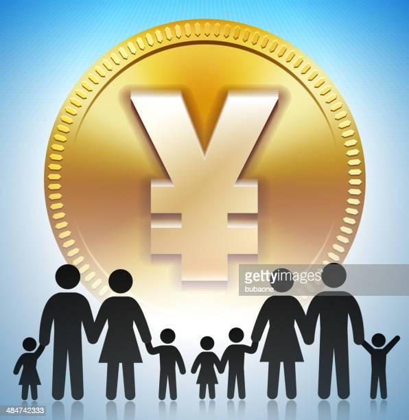 ilustraciones, imágenes clip art, dibujos animados e iconos de stock de familia stick figura en yen moneda de oro - obesidad infantil