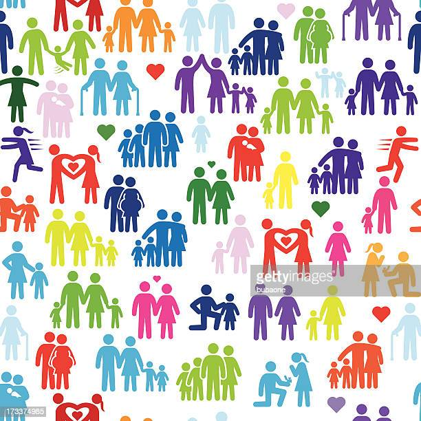 family stick figures seamless background - gay stock illustrations, clip art, cartoons, & icons