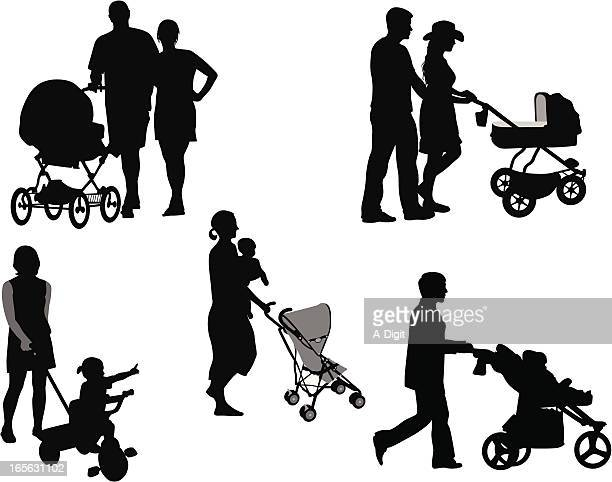 family strollers vector silhouette - baby carriage stock illustrations