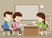 family talking with teacher