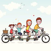 Family tandem bicycle